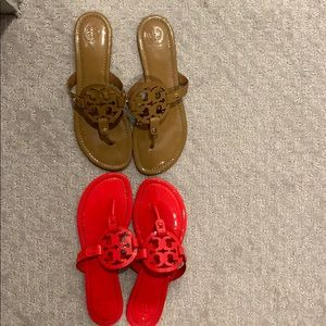 Tory Burch Miller sandal RARE Hot pink/coral/nude